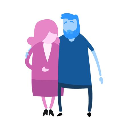 Cartoon couple. Cartoon design icon. Colorful flat vector illustration. Isolated on white background.  イラスト・ベクター素材