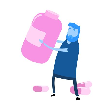 Cartoon man holding big bottle of pills in front of him. Cartoon design icon. Flat vector illustration. Isolated on white background.