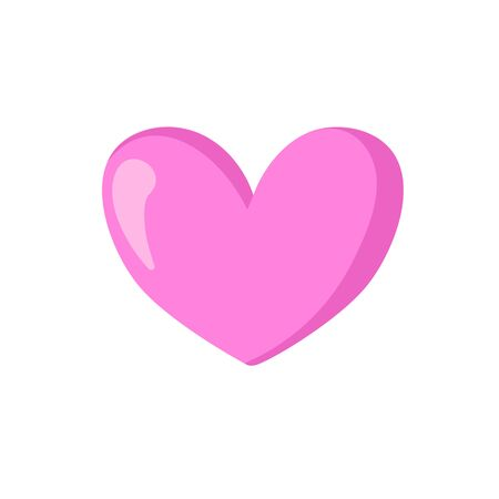 Pink heart. Cartoon design icon. Colorful flat vector illustration. Isolated on white background.