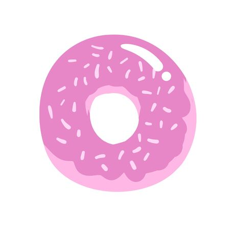 Pink doughnut. Cartoon design icon. Flat vector illustration. Isolated on white background.