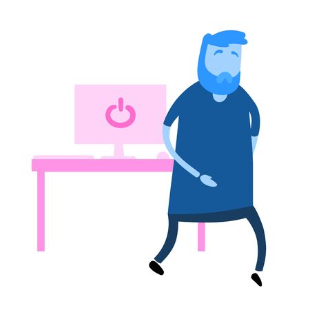 Cartoon man walking by the table with computer. Cartoon design icon. Flat vector illustration. Isolated on white background.  イラスト・ベクター素材