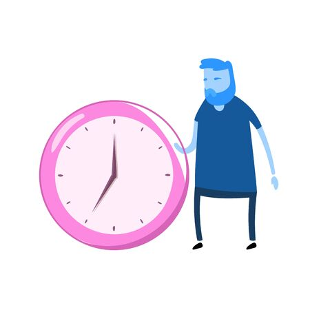 Cartoon man character standing next to the big clock. Cartoon design icon. Flat vector illustration. Isolated on white background.