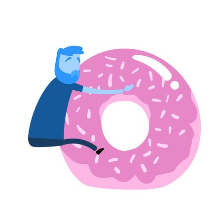 Cartoon man clinging on to giant donut. Unhealthy lifestyle, poor food choice. Cartoon design icon. Flat vector illustration. Isolated on white background.  イラスト・ベクター素材
