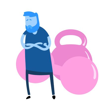 Sad cartoon guy standing in front of dumbbells with his arms crossed. Fitness, healthy lifestyle. Cartoon design icon. Flat vector illustration. Isolated on white background.  イラスト・ベクター素材