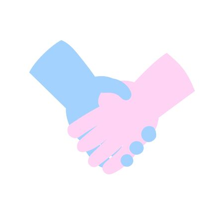 Cartoon handshake icon. Cartoon design icon. Colorful flat vector illustration. Isolated on white background.