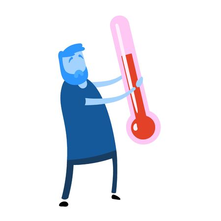 Sick man with big thermometer in his hands. Cartoon design icon. Colorful flat vector illustration. Isolated on white background.