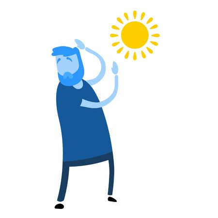 Man raised his hands hiding from the sun. Cartoon design icon. Colorful flat vector illustration. Isolated on white background.