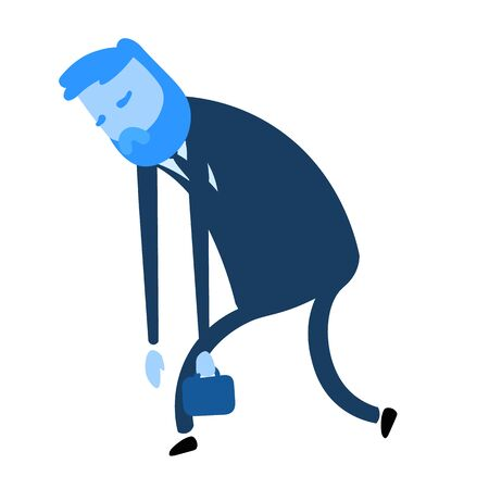 Exhausted cartoon businessman walking. Flat design icon. Colorful flat vector illustration. Isolated on white background.