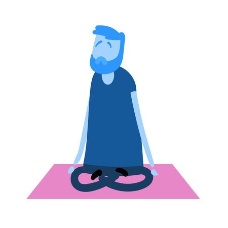 Cartoon guy meditating. Yoga and relaxation flat design icon. Colorful flat vector illustration. Isolated on white background.