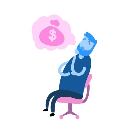 Cartoon man sitting on the chair dreaming about money. Cartoon design icon. Flat vector illustration. Isolated on white background.