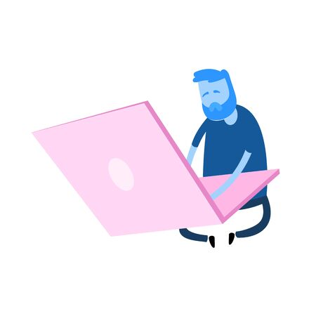 Cartoon man sitting by the giant laptop. Work, office concept. Cartoon design icon. Flat vector illustration. Isolated on white background.  イラスト・ベクター素材