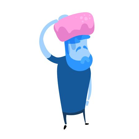 Sick man with ice pack on his head. Fever, temperature. Cartoon design icon. Colorful flat vector illustration. Isolated on white background.  イラスト・ベクター素材