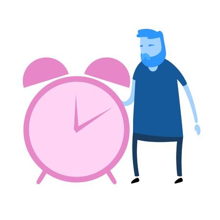 Cartoon man character standing next to the big alarm clock. Cartoon design icon. Flat vector illustration. Isolated on white background.