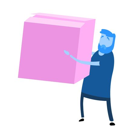 Cartoon casual man holding big parcel box. Cartoon design icon. Flat vector illustration. Isolated on white background.  イラスト・ベクター素材