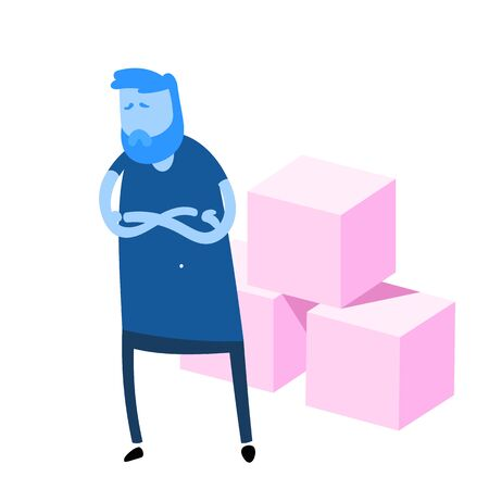Cartoon man with his arms crossed in front of three sugar cubes. High-sugar food danger. Flat design icon. Colorful flat vector illustration. Isolated on white background.  イラスト・ベクター素材