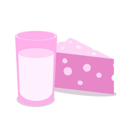 Milk and dairy products icons. Colorful flat vector illustration. Isolated on white background.  イラスト・ベクター素材