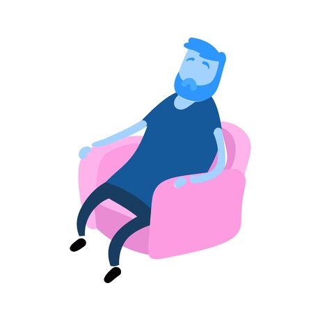 Bearded man sits in an armchair and relax. A person resting. Cartoon design icon. Flat vector illustration. Isolated on white background.