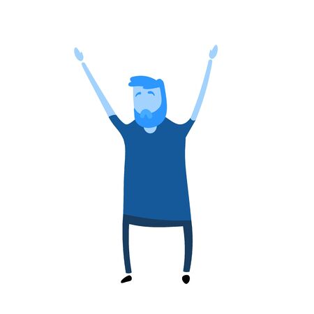 Cartoon guy raised his hands up. Cartoon design icon. Flat vector illustration. Isolated on white background.