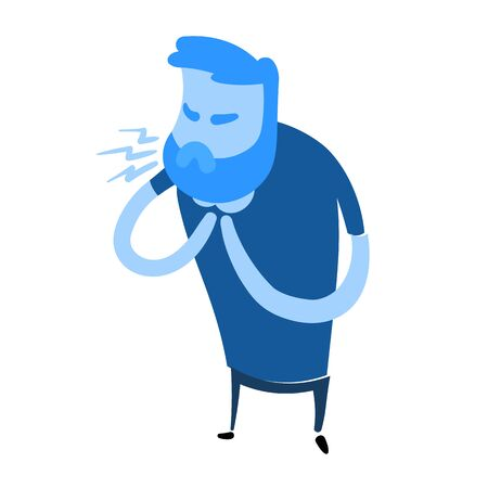 Man coughing with hands on his neck. Flat design icon. Colorful flat vector illustration. Isolated on white background.  イラスト・ベクター素材