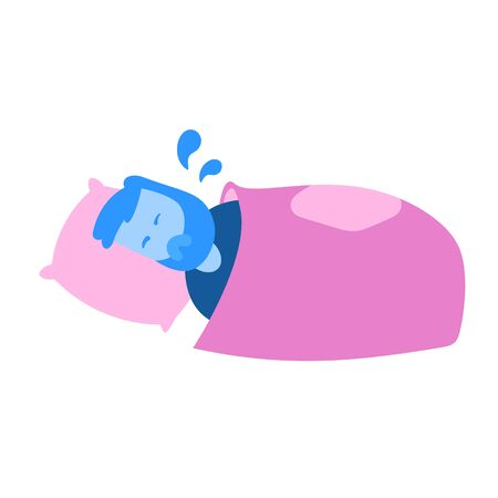 Man soaked in sweat lying in his bed. Cartoon design icon. Colorful flat vector illustration. Isolated on white background.