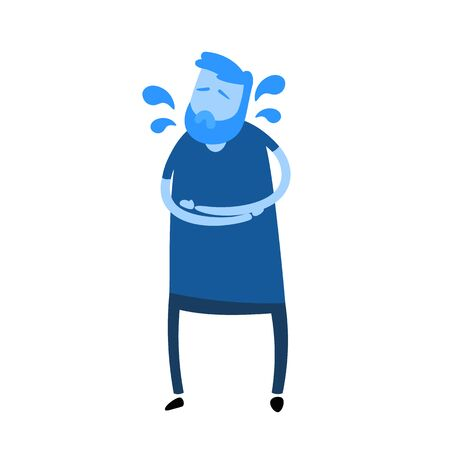 Guy feeling stomack pain. Cartoon design icon. Flat vector illustration. Isolated on white background.  イラスト・ベクター素材
