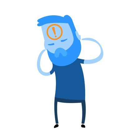 Worried cartoon man with an exclamation mark on his head. Cartoon design icon. Flat vector illustration. Isolated on white background.