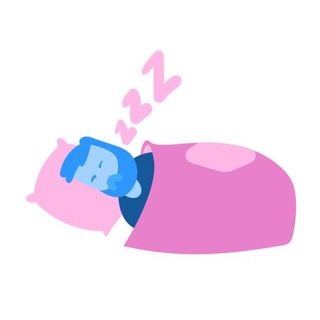 Cartoon man sleeping in a bed. Cartoon design icon. Colorful flat vector illustration. Isolated on white background.