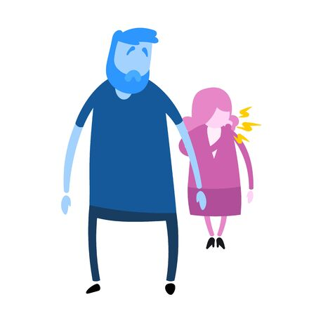 Guy looking at coughing woman nearby. Cartoon design icon. Colorful flat vector illustration. Isolated on white background.