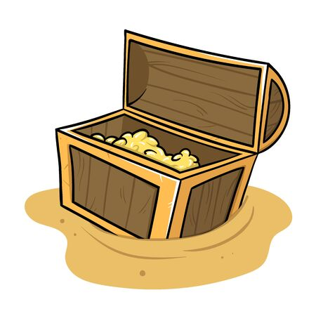 Open chest full of treasure standing on the sand. Archaeology and history. Flat vector illustration, isolated on white background.