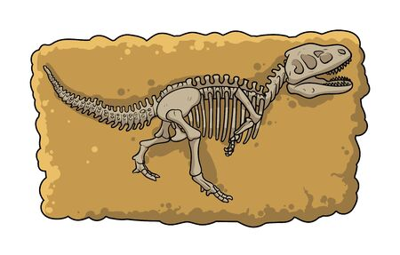 Dinosaur fossil skeleton in the soil, archaeological excavation cartoon style.