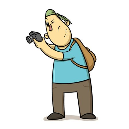 Funny cartoon tourist taking pictures. Backpacker with a camera. Flat vector illustration isolated on white background.