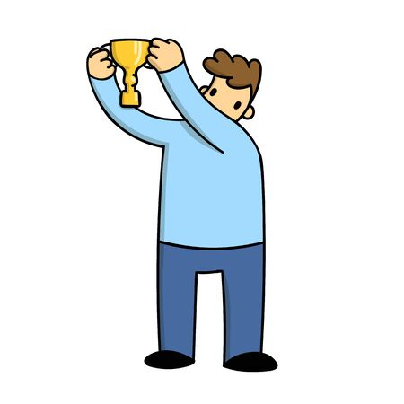 Man holding a Trophy above his head, simple cartoon style. Flat vector illustration isolated on white background.
