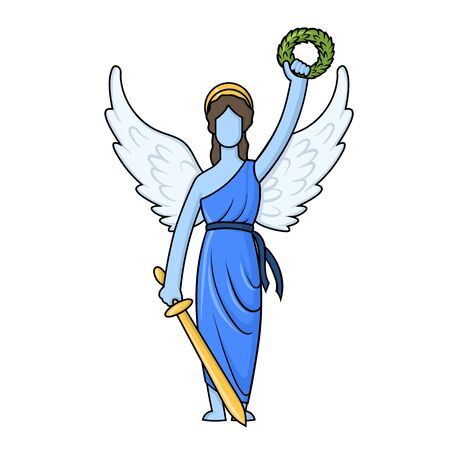 Greek Goddess Nica with a wreath and a sword. Illustration