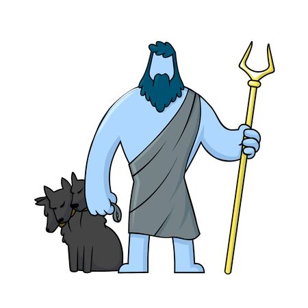 Hades and his dog Cerberus, mythological Greek God of the dead underworld. Illustration