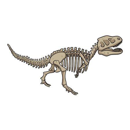 T-rex dinosaur fossil skeleton, cartoon style.