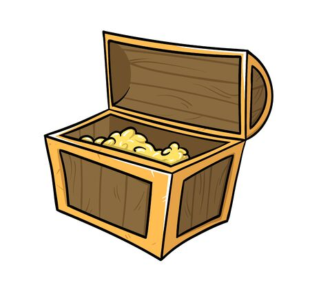 Open chest full of treasure. Archaeology and history. Flat vector illustration, isolated on white background. Illustration