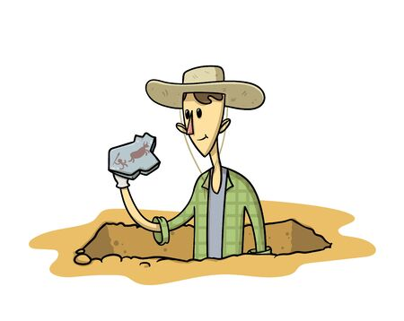 Treasure hunter with an artefact in his hand. Young archaeologist stranding in excavation pit with his finding. Flat vector illustration, isolated on white background.