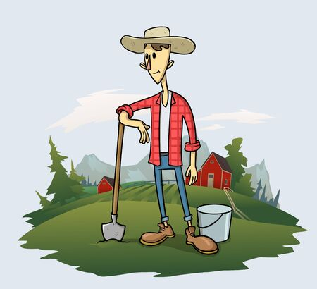 Smiling farmer with a shovel and a bucket, cartoon character standing on the grass with trees and mountain landscape