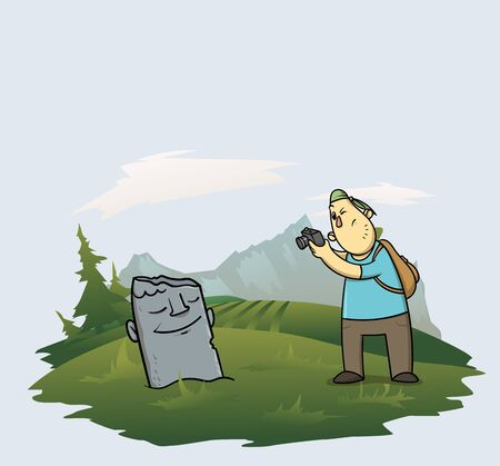 Tourist taking pictures of a stone idol in the forest near mountains