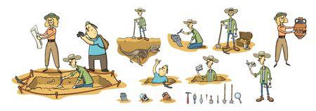 Archeologia, paleontologia e caccia al tesoro, archeologi sul sito di scavo. Set di personaggi e strumenti dei cartoni animati. Piatto del fumetto illustrazione vettoriale, isolato su sfondo bianco. Vettoriali