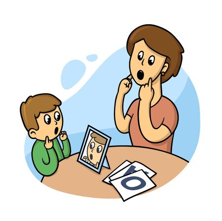 Logopedist with a kid. Speach therapy class. Flat vector illustration, isolated on white background.