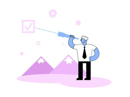 Cartoon businessman looking through a spyglass searching for solution.