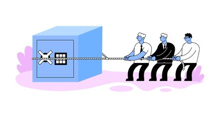 Group of businessmen pulling bid security safe with a rope. Banking security and reliability concept. Cartoon style flat vector illustration. Isolated on white background.