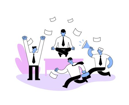 Businessman meditating in the office among rushing colleagues. Cartoon style flat vector illustration. Isolated on white background.
