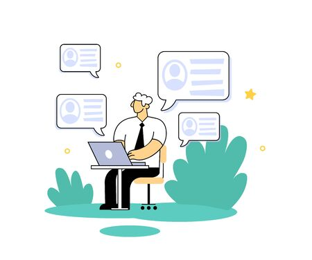 Businessman checking personal data on his computer. Know Your Customer concept. Cartoon flat vector illustration. Isolated on white background.
