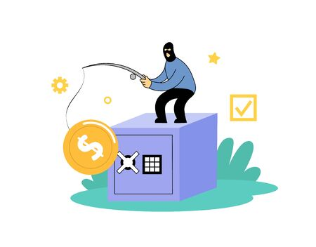 Masked robber with a fishing rode standing on top of big safe box. Banking crime, theft concept. Cartoon flat vector illustration. Isolated on white background.