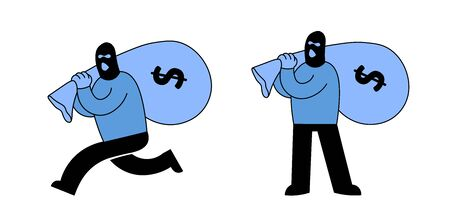 Masked thief or bank robber carrying a sack of money and running away, Cartoon character set of two. Cartoon flat vector illustration. Isolated on white background.