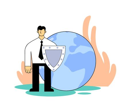Man with a shield protects planet. Environmental problems, global warming, eco activism. Cartoon flat vector illustration. Isolated on white background. Illustration