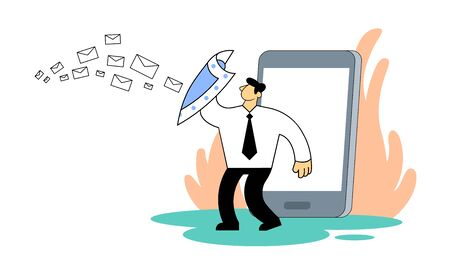 Businessman protecting himself with a shield against unwanted mail. Illustration