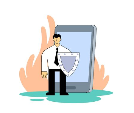 Businessman with a shield protecting personal data in front of mobile device. Cartoon flat vector illustration. Isolated on white background. Illustration